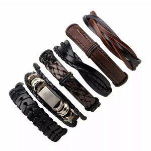 Men's Brown & Black Leather Braided Bracelet Set